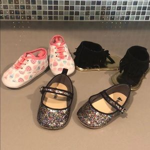 Other - 3 pairs baby girl shoes, sandal, sneakers, flats